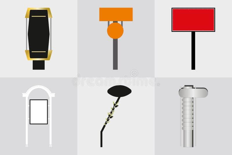 Signage ext?rieur de signe de pyl?ne de signe de monument de bureau annon?ant la construction illustration 3D illustration libre de droits