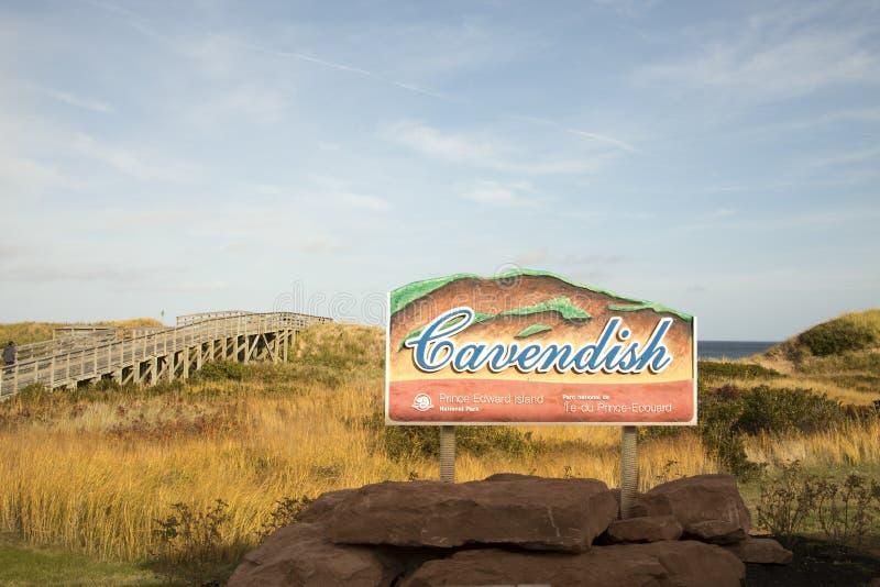 Signage för den Cavendish strandnationalparken, prins Edward Island, arkivbild