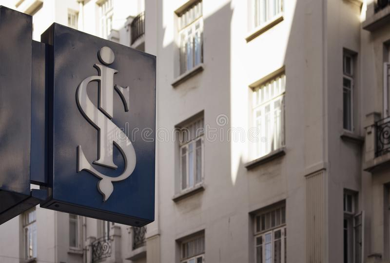 Signage of famous, old Turkish commercial bank stock images