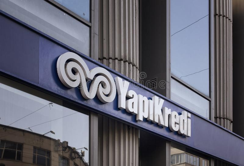 Signage of famous Turkish commercial bank stock photo
