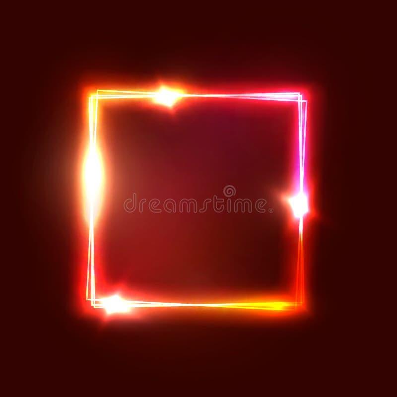 Signage geométrico da luz de néon Forma quadrada de incandescência ilustração stock
