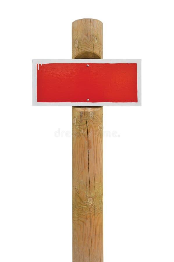 Signage horizontal en métal d'interdiction d'avertissement de panneau peint à la main rouge de panneau, cadre blanc, fond en bois image stock