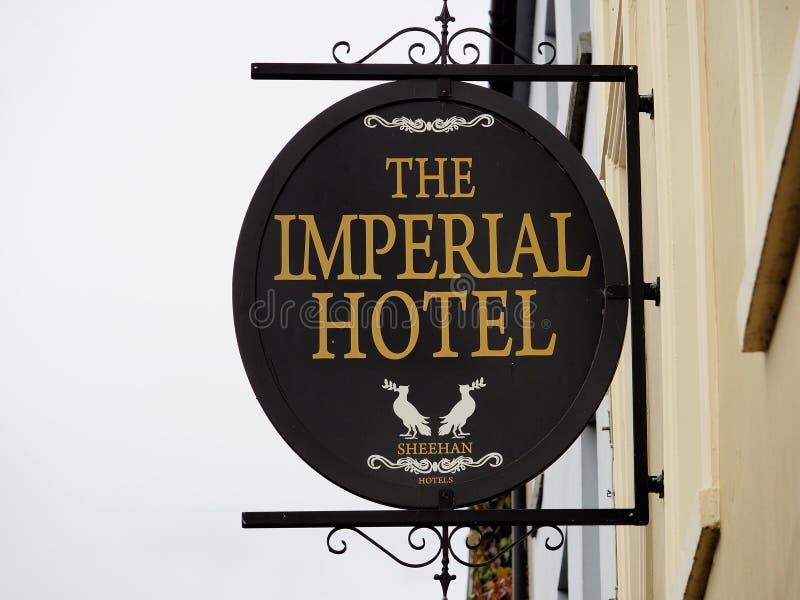 Signage For Hotel In Tralee Ireland. Signage for hotel with wrought iron in Tralee Ireland royalty free stock photos