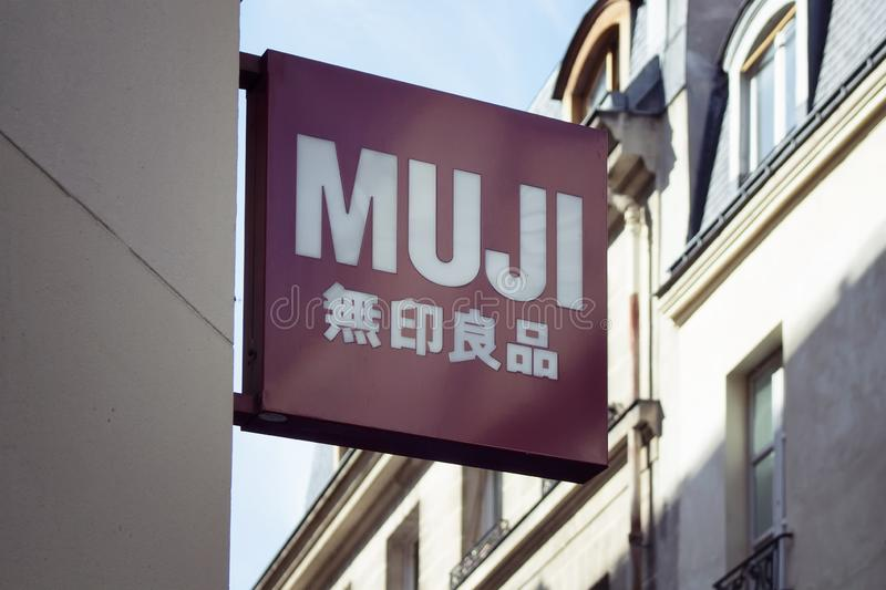 Signage of international Japanese retail company. Which sells a wide variety of household and consumer goods in Le Marais district of Paris. 3rd arrondissement stock images