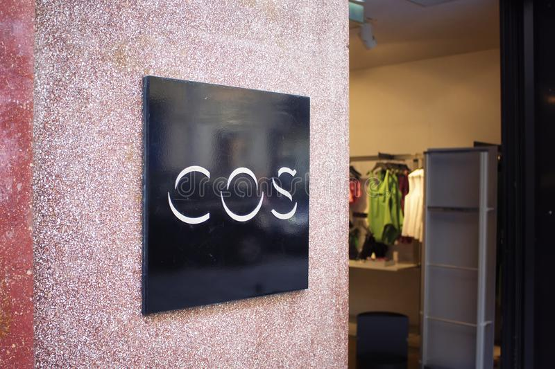Signage of international Swedish fashion brand`s store. In Le Marais district of Paris royalty free stock image