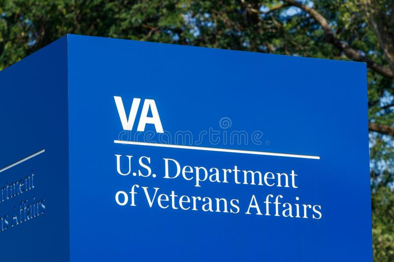 Fort Wayne - Circa August 2018: Signage and logo of the U.S. Department of Veterans Affairs III stock image