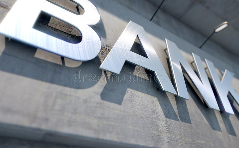 Signage moderno da construção de banco ilustração do vetor