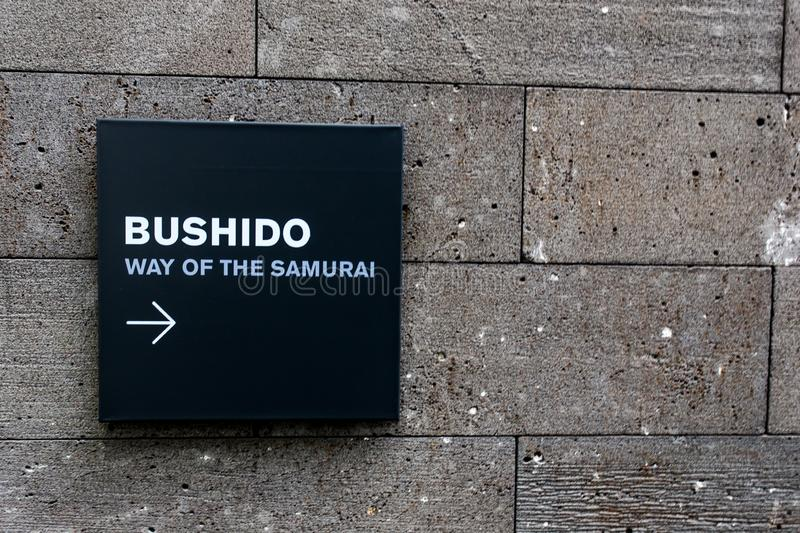 Bushido Way of the Samurai Signage. A signage in the museum that pointing to the Japanese Display section. A play on word because it is a waypoint that pointed royalty free stock photo