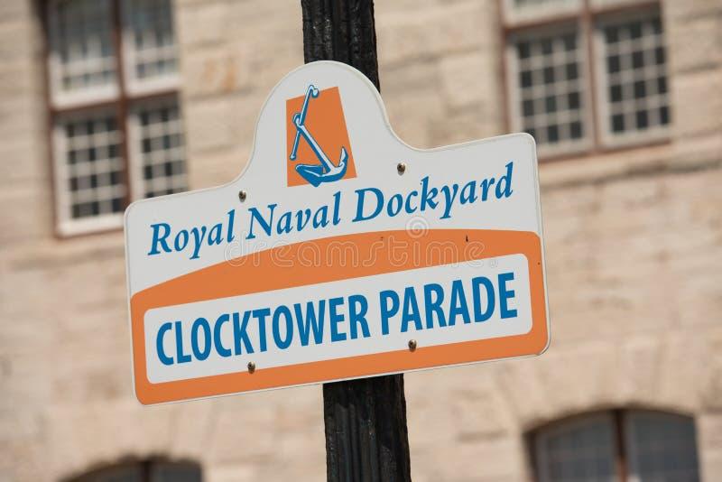 Signage naval real do estaleiro em Bermuda imagens de stock royalty free