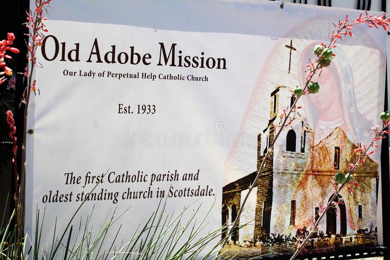 Old Adobe Mission, Our Lady of Perpetual Help Catholic Church, Scottsdale, Arizona, United States. Signage at Old Adobe Mission, Our Lady of Perpetual Help stock image