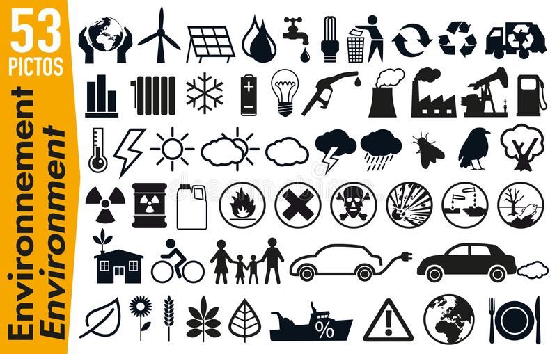 53 signage pictograms on the environment and ecology. Set of pictogram to illustrate the theme of ecology and the environment, grouping on a board, signage for vector illustration