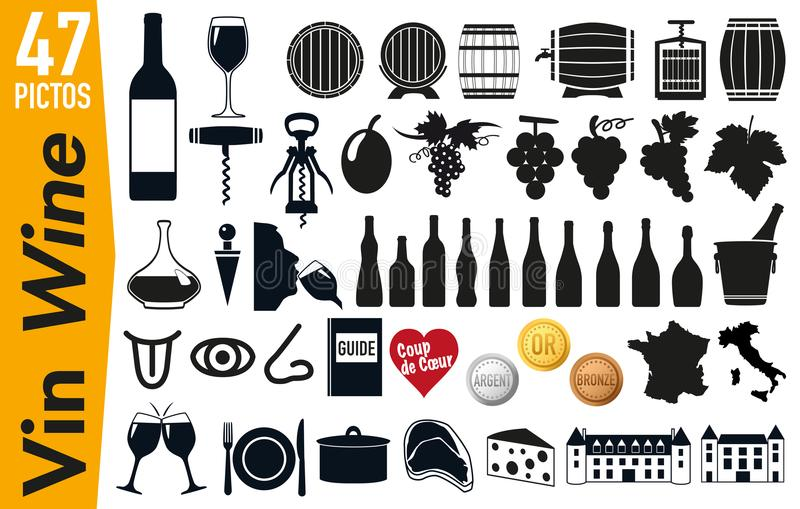 47 signage pictograms on wine and grapevine. Set of pictogram to illustrate the theme of wine and vineyards, grouping on a board, signage for advertising and vector illustration