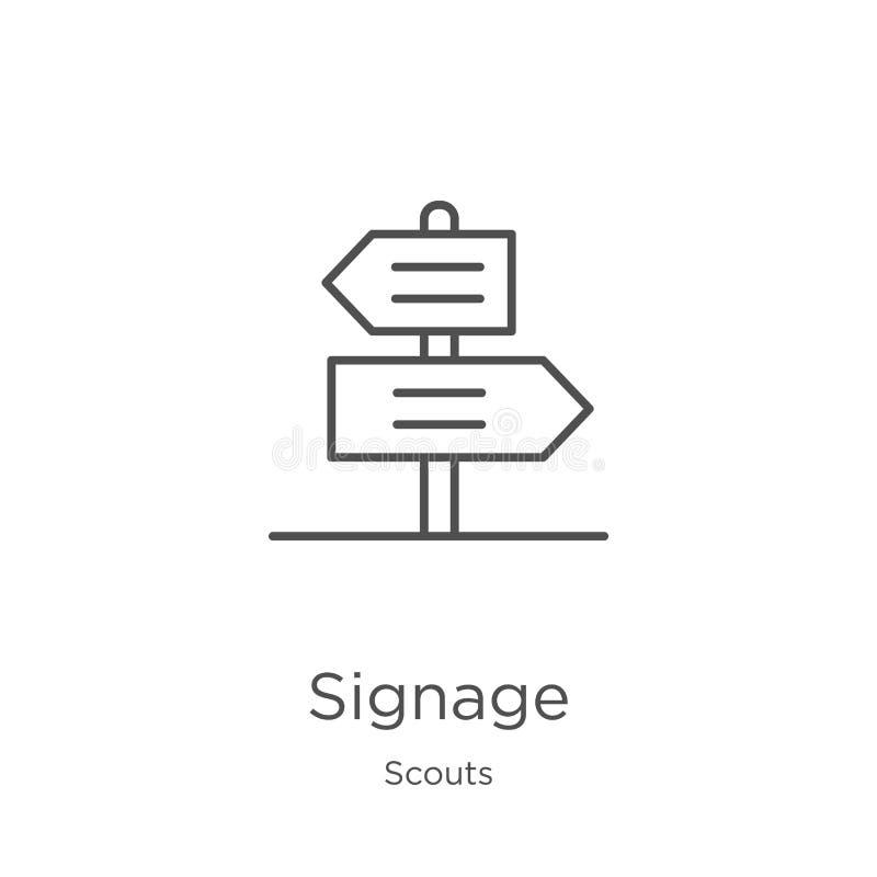 signage pictogramvector van verkennersinzameling De dunne lijnsignage vectorillustratie van het overzichtspictogram Overzicht, du vector illustratie