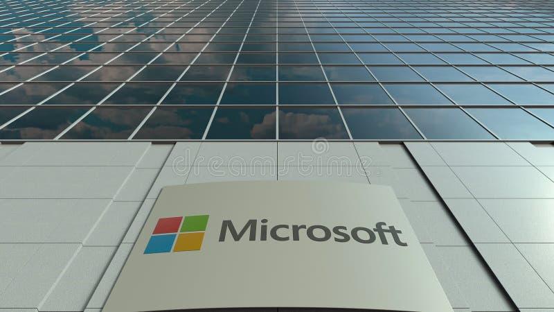 Signage raad met Microsoft-embleem Moderne de bureaubouw voorzijde Het redactie 3D teruggeven royalty-vrije stock foto's