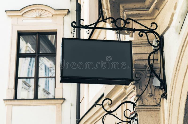 Signage rectangulaire noir vide photos stock