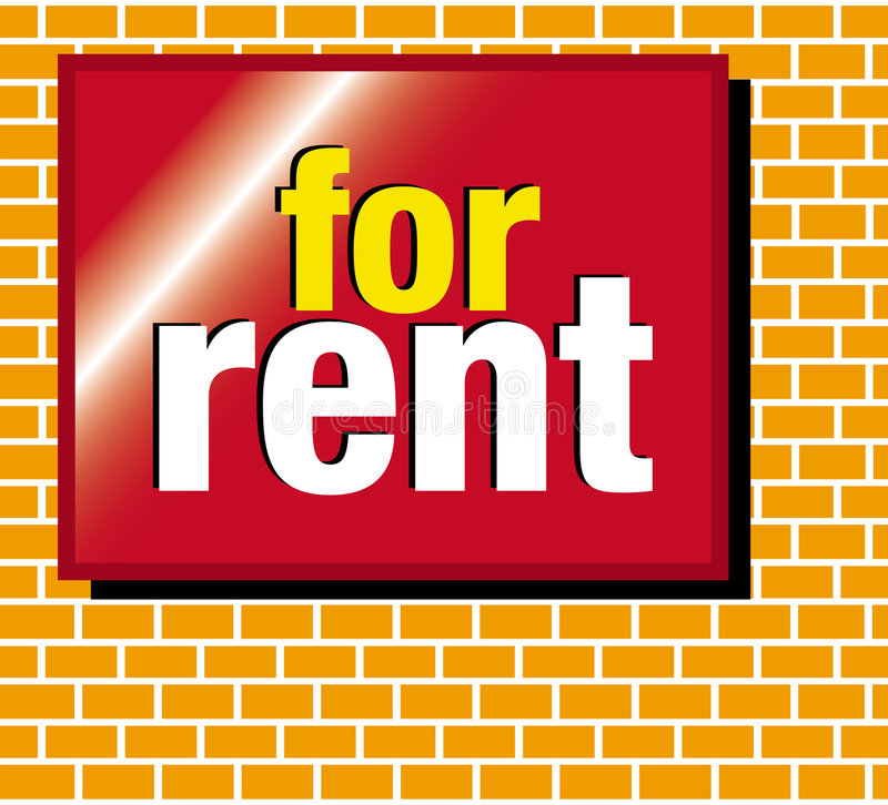 Signage for rent. A for rent sign on a brick background stock illustration