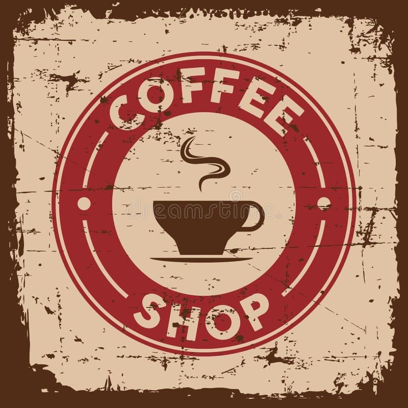 Signage retro velho do sinal do café do vintage ilustração do vetor