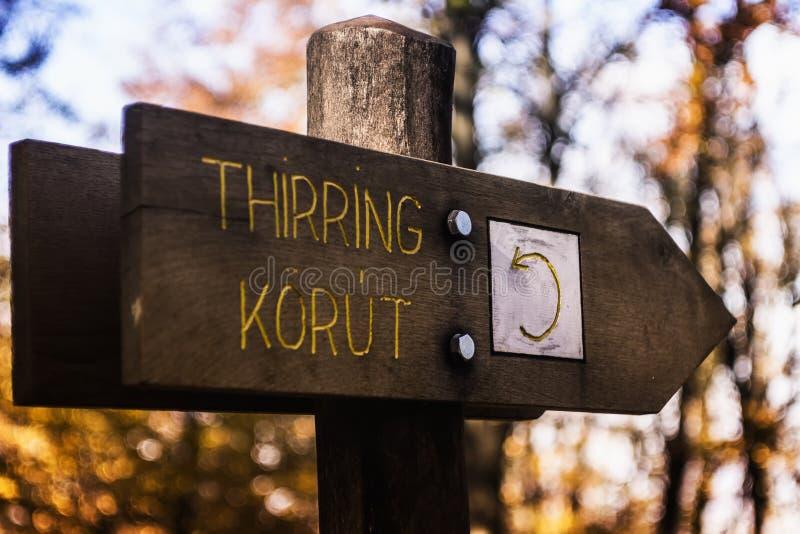 Signage Thirring Korut деревянный стоковые изображения rf