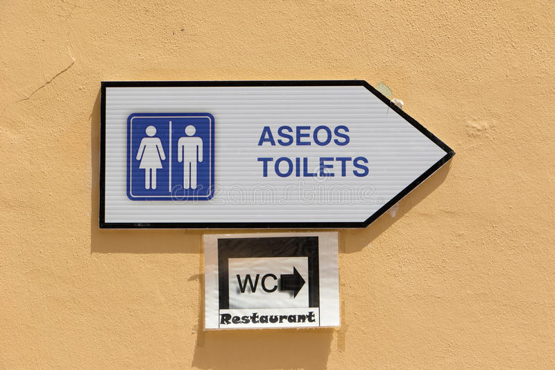 Signage toilet / WC. Spanish signage toilet. WC Restaurant royalty free stock photography