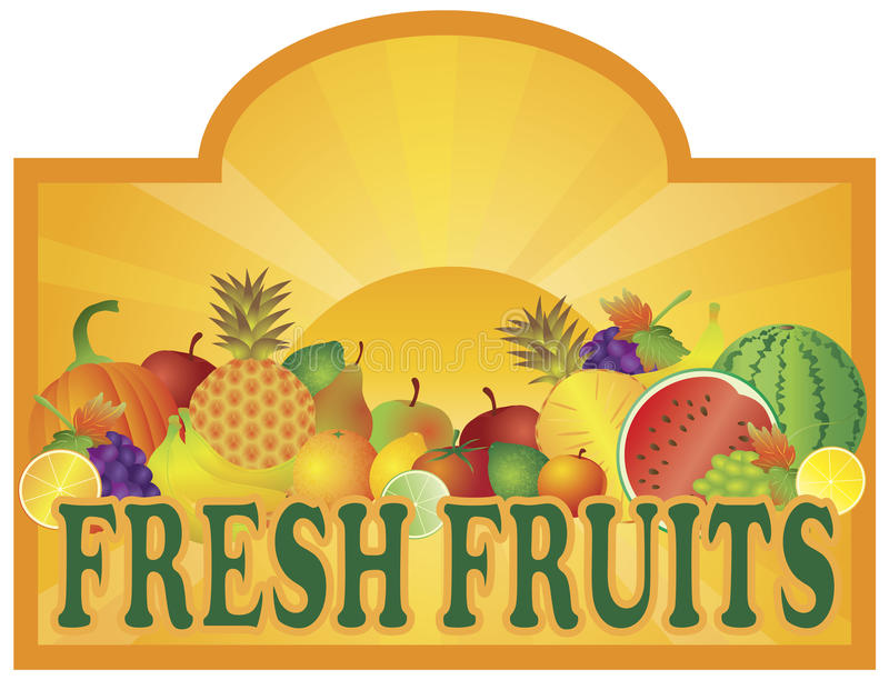Signage van de Tribune van verse Vruchten met de Illustratie van de Zon stock illustratie