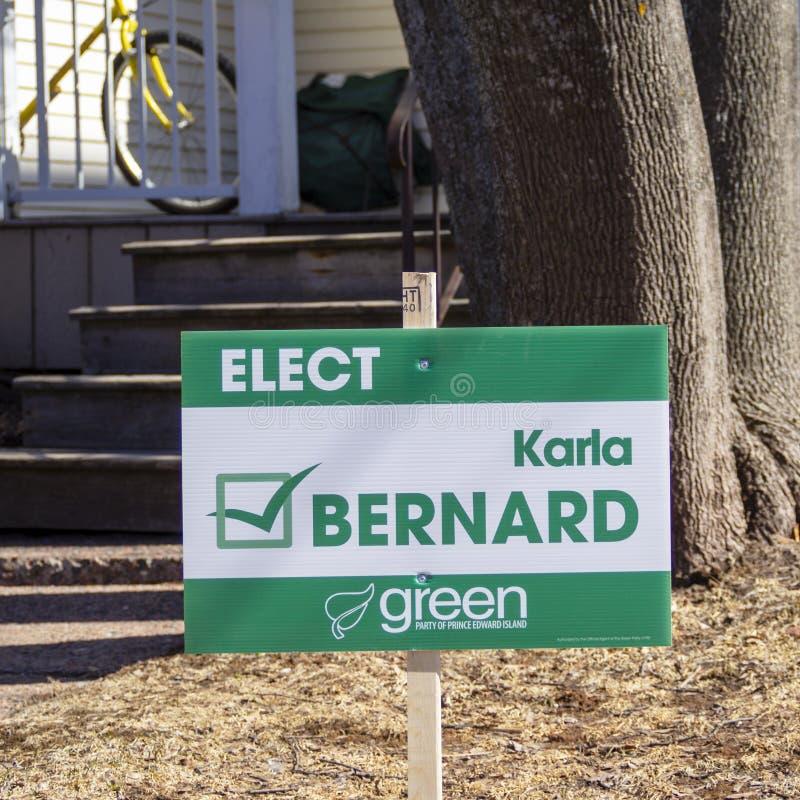 Signage von Karla Bernard von der Grünen Partei von Prinzen Edward Island für provinzielle Wahl am 23. April 2019 lizenzfreie stockbilder