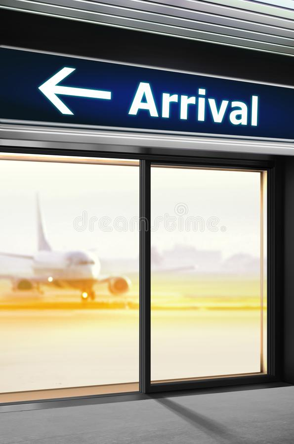 Signage on which the way of arrival. Tourist info signage on which the way of arrival is specified in airport stock photos