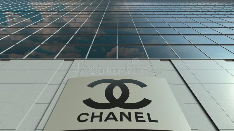 Signagebräde med den Chanel logoen modernt kontor för byggnadsfacade Redaktörs- tolkning 3D stock illustrationer