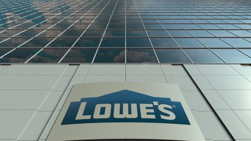 Signagebrett mit Lowe-` s Logo Moderne Bürohausfassade Redaktionelle Wiedergabe 3D lizenzfreie abbildung