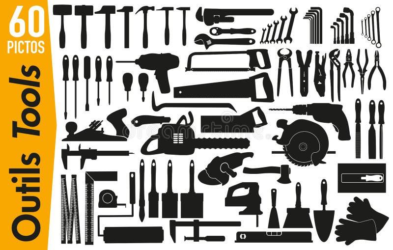 60 Signagepiktogramme auf DIY und Dekorationswerkzeugen vektor abbildung