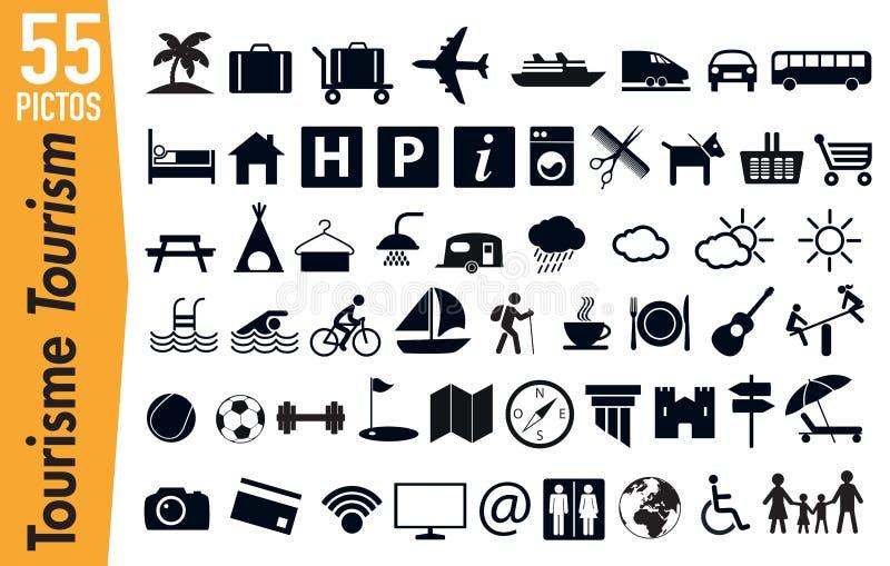 55 Signagepiktogramme auf Tourismus und Feiertagen lizenzfreie abbildung