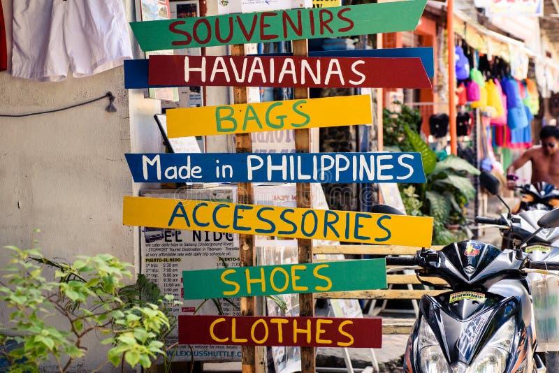 Signages at the street of El Nido, Palawan royalty free stock images