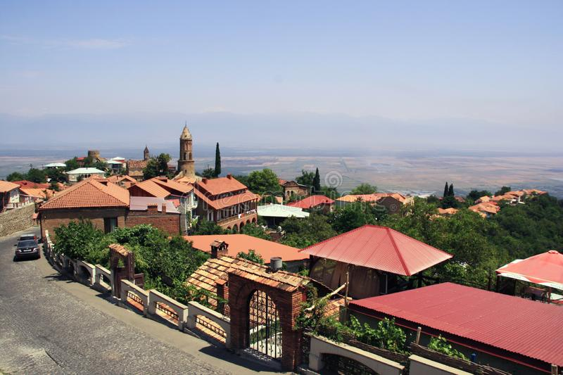 Signagi city with its red roof houses. Georgia. View to Sighnaghi old town in Kakheti region, Georgia. Houses with red roofs. Hot summer day royalty free stock images