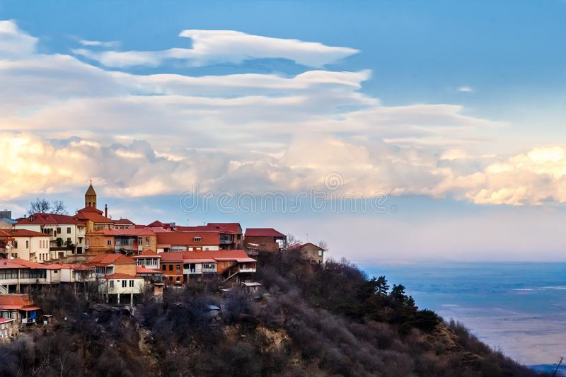 Signagi georgian town view with clouds in the background, Kakhet. I region, Georgia stock photography