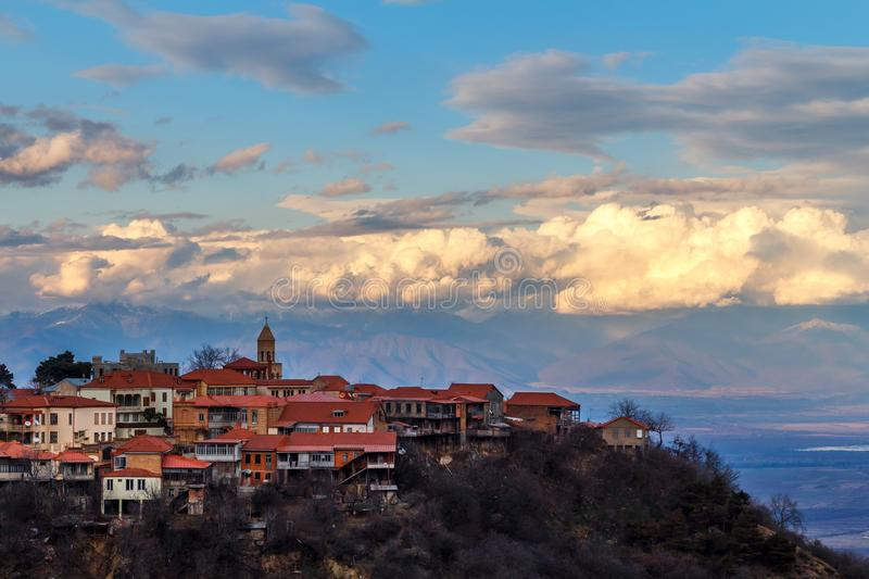 Signagi georgian town view with clouds in the background, Kakhet. I region, Georgia royalty free stock image
