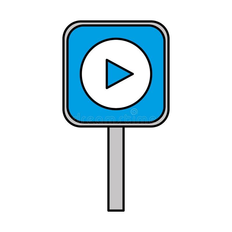 Signal avec le bouton de jeu illustration libre de droits