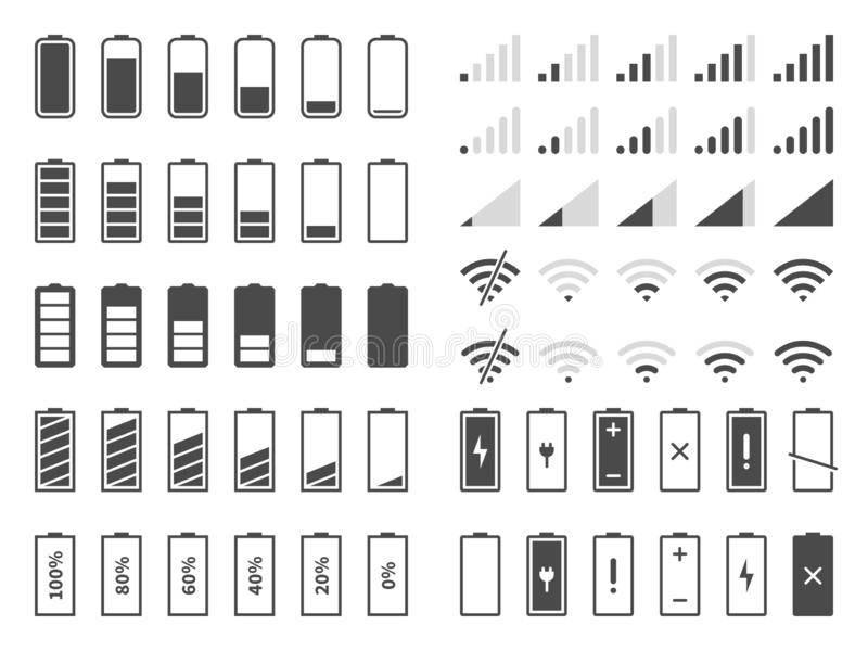 Signal and battery icons. Network signal strength and telephone charge level. Battery status, wifi internet wireless. Loading vector system power timely stock illustration