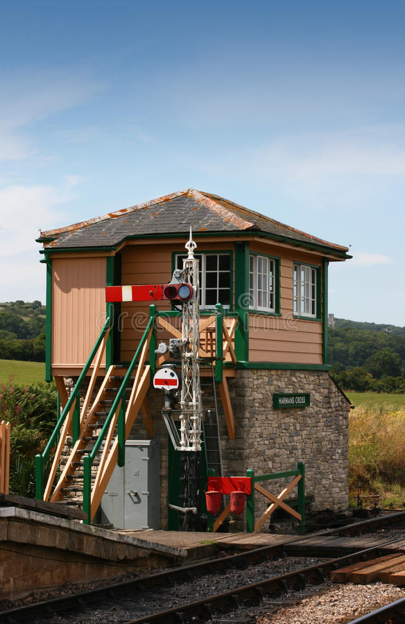 Signal box. The signal box at Harmans Cross Station, part of the Swanage steam railway network in Dorset. located at the end of the station platform stock photo