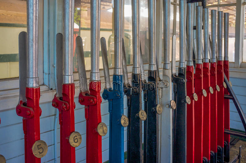 Signal box points levers, Western Australia royalty free stock images