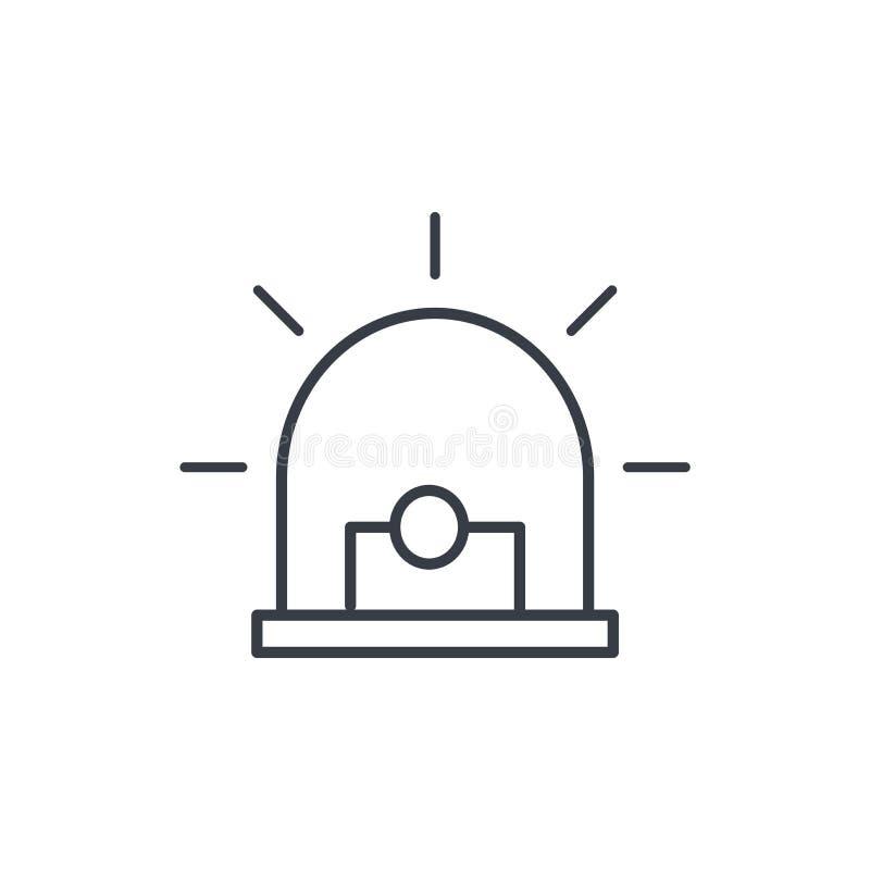 Signal d'alarme, alerte, ligne d'avertissement icône de sirène Symbole linéaire de vecteur illustration de vecteur