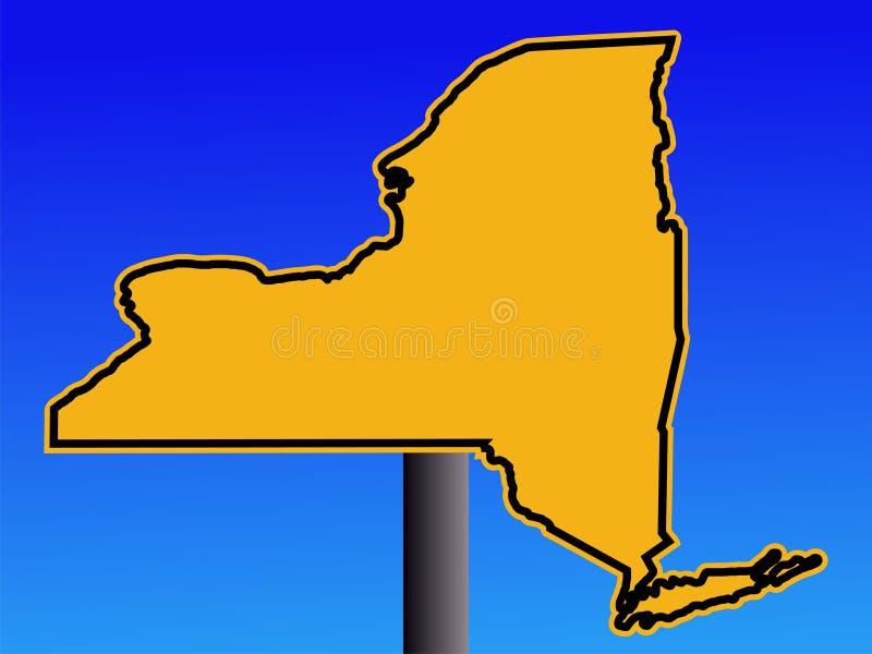 Signal d'avertissement de carte de New York illustration de vecteur