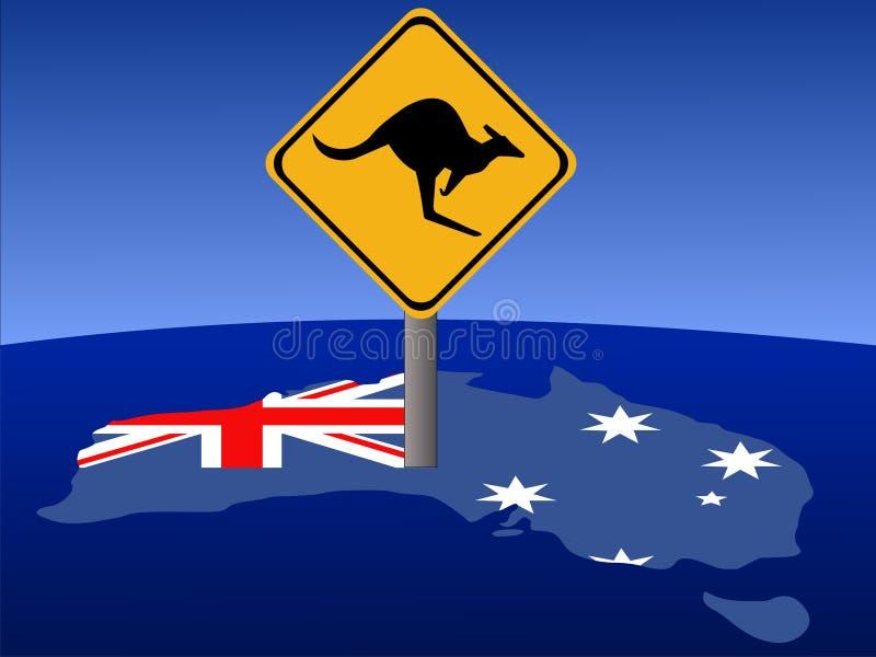 Signal d'avertissement de kangourou illustration libre de droits