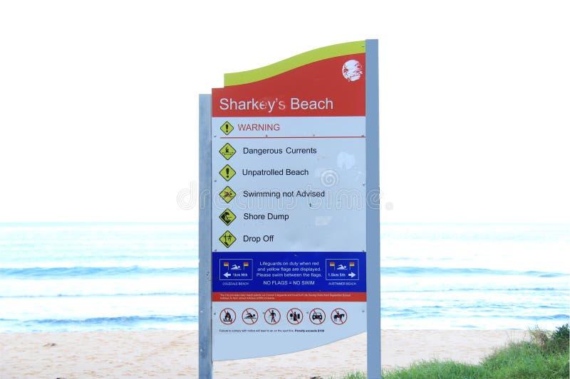 Signal d'avertissement de plage photo stock