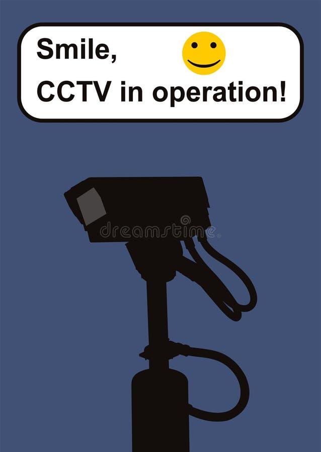 Signal d'avertissement de télévision en circuit fermé. illustration de vecteur