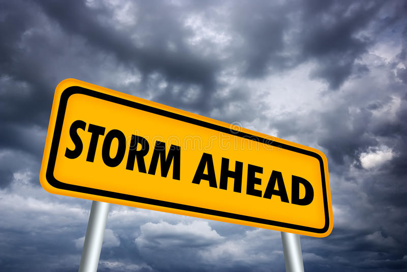 Signal d'avertissement de temp?te en avant illustration stock