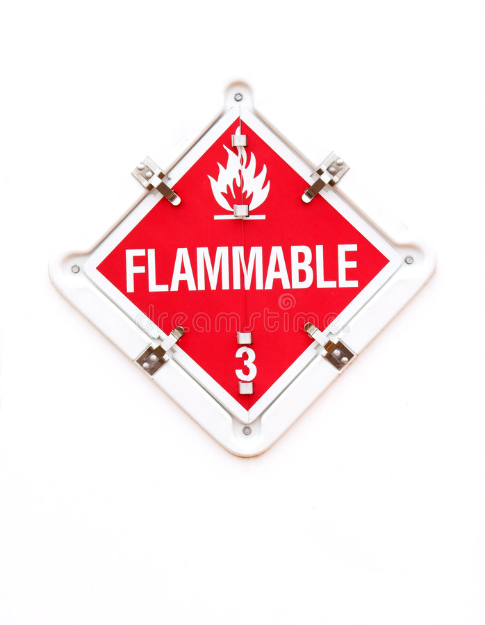 Signal d'avertissement inflammable photographie stock