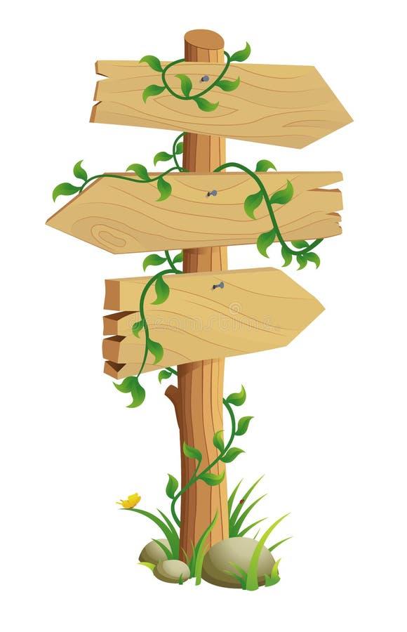 Signal de direction en bois illustration libre de droits