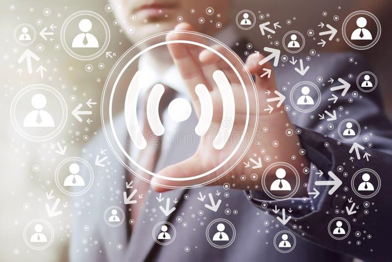 Signal de Web d'icône de connexion de Wifi de bouton d'affaires illustration de vecteur
