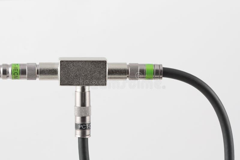 Signal du diviseur TV avec des connecteurs photo libre de droits
