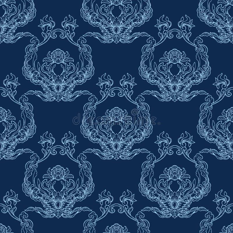 Signal för färg för modernt klassiskt för rokokoprydnadtappning sömlöst porslin för modell vitt blå vektor illustrationer