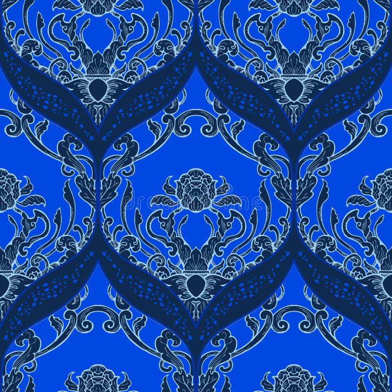 Signal för färg för modernt klassiskt för rokokoprydnadtappning sömlöst porslin för modell vitt blå royaltyfri illustrationer